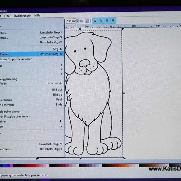 """Hund markieren und über """"Objekte"""" Gruppierung aufheben"""" vorbereiten"""